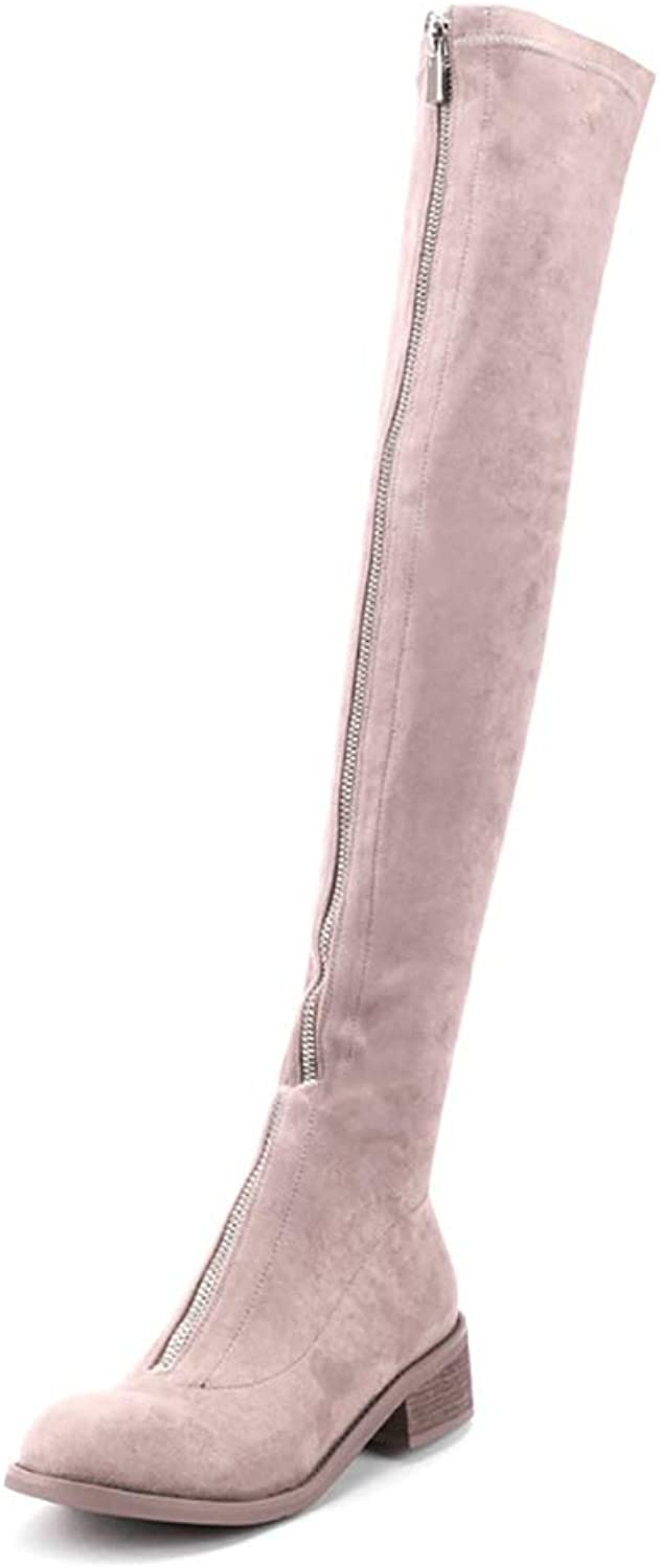 WJ Womens Ladies Thigh High Over The Knee Low Heel Flat Zipper Boots shoes,Wome