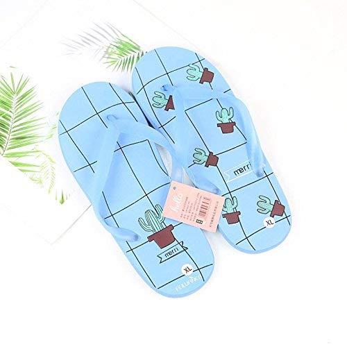 Pingrog Einfach Cartoon Flip Flops Bad rutschfeste Hausschuhe Flip Flops Sandalen Einfacher Stil Blau Kaktus Muster (Farbe : Sky Blue Größe :) Mode Home Strandschuhe (Color : Sky-Blue, Size : XL)