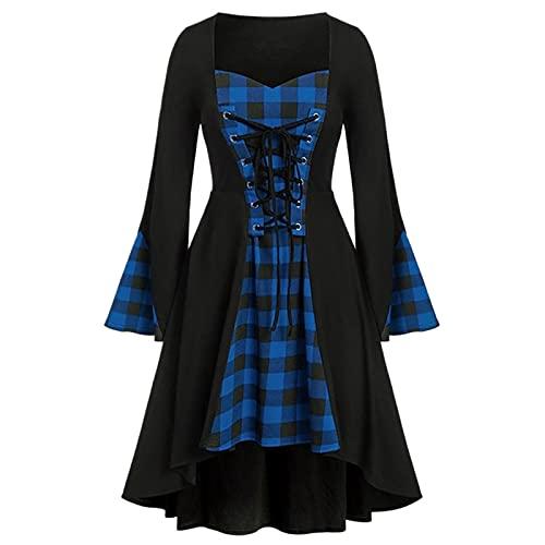 Darringls Damen Mittelalter Kleid Renaissance Gothic Retro Frauen Kleider Party Cosplay Kostüm Kleider Langarm Bodenlangen Halloween Kleidung