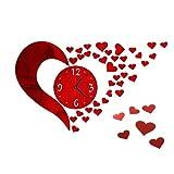 Reloj de pared sencillo con forma de corazón, reloj de pared Fai-Da-Te con forma de corazón para la casa, espejo 3D,...