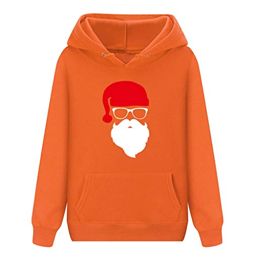 Damen Kapuzenpullover,KUDICO Weihnachtsmann Muster Lange Ärmel Winter Tops T-Shirt,Kapuzen Sweatshirt PulloverKangaroo Tasche Oberteile (Orange, EU-34/CN-S)