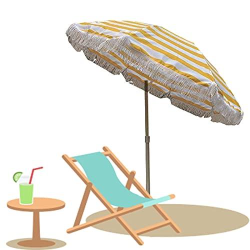 Parasol 160 × 200 cm Sombrilla Rayas para jardín al Aire Libre...