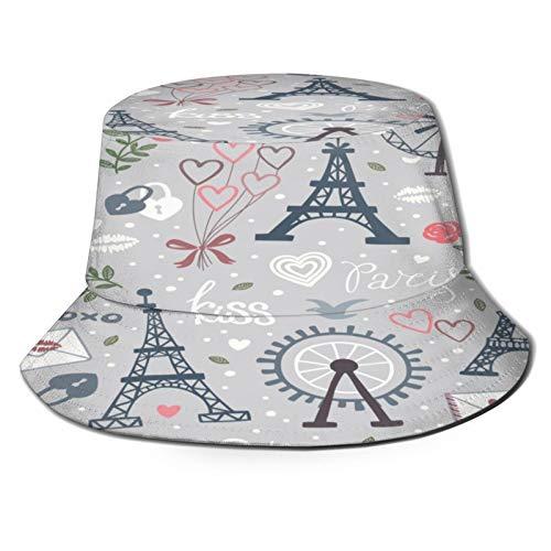 PUIO Sombrero de Pesca,Fondo Vector Transparente con Rueda Observación Eiffel,Senderismo para Hombres y Mujeres al Aire Libre Sombrero de Cubo Sombrero para el Sol