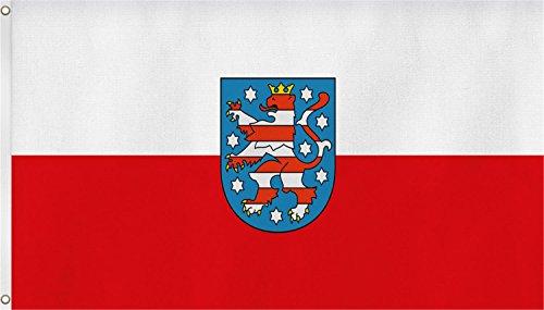 normani TOP QUALITÄT !! Fahne Flagge, Grösse: ca. 90x150 cm, Ordentliche Stoffqualität - Stoffgewicht ca. 110 gr/m2 Farbe Thüringen