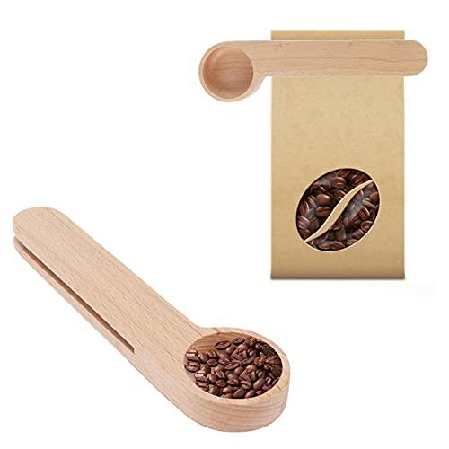 Cuchara de madera, cuchara de té 2 piezas 2 en 1 para restaurante para cafetería para cocina para oficina