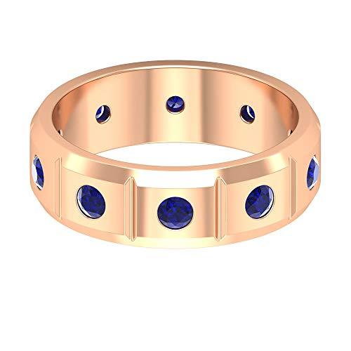 Rosec Jewels 14 quilates oro rosa redonda Blue Blue Sapphire