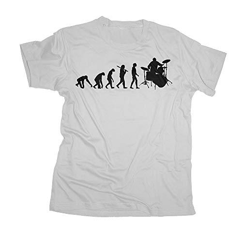 Ma2ca - Evolution - Drummer Schlagzeuger T-Shirt-White-XXL