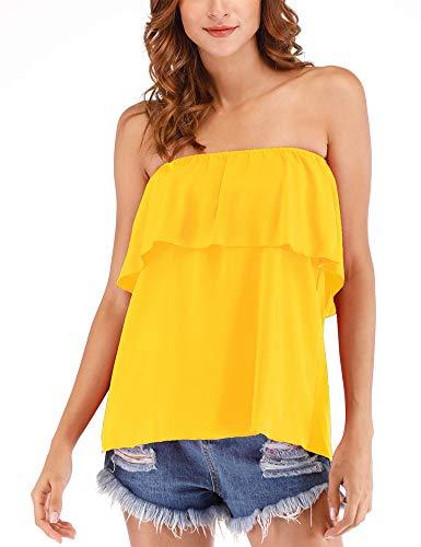 Women's Summer Off Shoulder Chiffon Tube Top Strapless Ruffles Sleeveless Sexy Tops Casual T Shirts Yellow XL