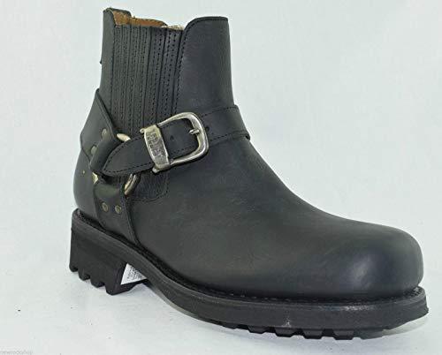 Loblan 611 Herren Bikerstiefel, gewachstes Leder, klassisch, runde Zehen, handgefertigt, Schwarz - Schwarz - Größe: 40 2/3 EU