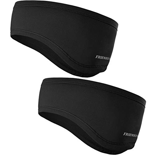 The Friendly Swede Running Headband Ear Warmer - 2-Pack, Sports Headband for Outdoors, Running, Cycling, Hiking - Ideal as Liner Under Helmets (Standard Black)