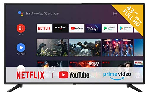 RCA RS43F3-UK Android TV (43 pulgadas Full HD Smart TV con Google Assistant), Chromecast incorporado, HDMI, USB, WiFi, Bluetooth