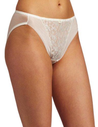 Carnival Womens High Cut Lace Bikini Panty, Ivory, Large