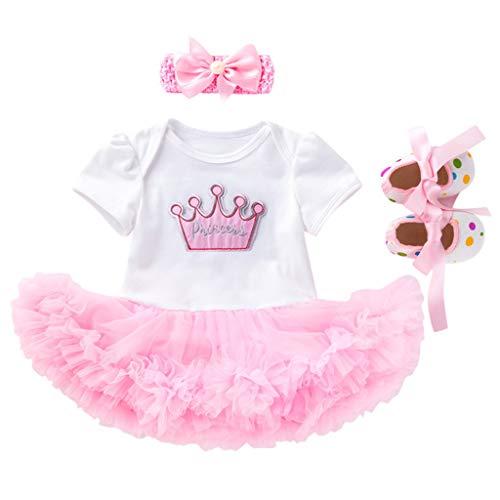 MRULIC 3 Stücke Kleid Set Baby Mädchen Cartoon Swan Printed T-Shirt Strampler Prinzessin Tutu Kleid + Stirnbänder + Schuhe Set Outfit(Weiß,59 cm)