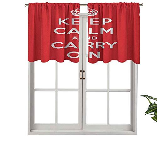 Hiiiman Cenefa opaca de alta calidad con bolsillo para barra, color rojo y blanco con texto en inglés 'Keep Calm Port', juego de 2, paneles opacos decorativos para el hogar para dormitorio