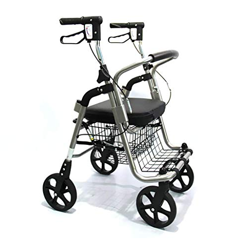 Walkers for seniors Walking Frame,Medical Transport Rollator Walker With Seat And 4 Wheels, Folding Walker With Footrests For Elderly Adult Bariatric Mobility Aid,Space Saver rollator walker, Durable