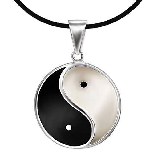 CLEVER SCHMUCK Set Silberner Damen Herren Anhänger großer Yin Yang Ø ca. 23 mm schwarz und weiß lackiert glänzend Sterling Silber 925 mit Kautschukband schwarz 45 cm lang