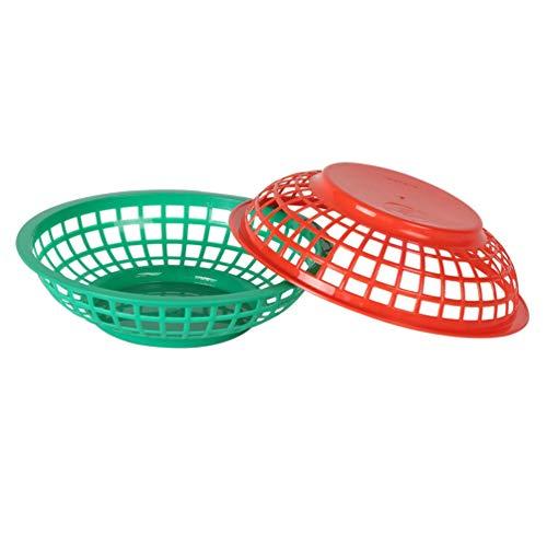 Tomaibaby Plato de Refrigerio Canasta de Refrigerio de Plástico Olla Caliente Canasta de Frutas Y Verduras Canasta de Refrigerio Canasta de Papas Fritas (Verde + Rojo 2 Piezas)