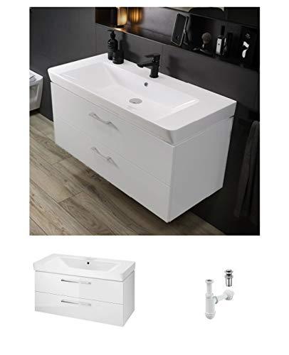 Badmöbel Waschtisch Waschbecken Mille 100 cm + Schrank Lara Waschbecken mit Unterschrank 2 Schubladen weiß + Click Clack + Flaschensiphon, modernes Design