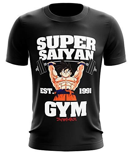 Stylotex Fitness T-Shirt Herren Sport Shirt Super Saiyan Gym est. 1991 Gym Tshirts für Performance beim Training | Männer Kurzarm | Funktionelle Sport Bekleidung, Größe:L, Farbe:schwarz