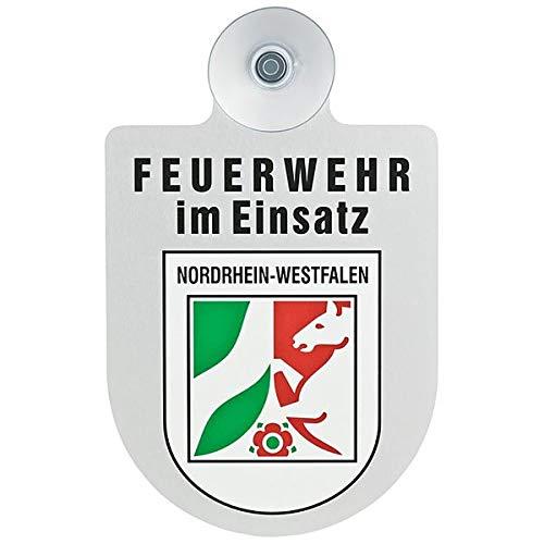 Alu Saugnapf Wappen Schild Feuerwehr im Einsatz mit Wappen Nordrhein-Westfalen