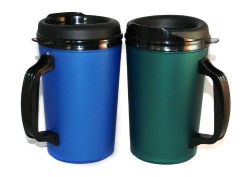 GAMA Electronics 2 ThermoServ Foam Insulated Coffee Mug 20 oz w/Lids (1) Blue & (1) Green