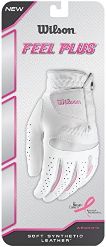 Wilson Damen Golfhandschuh, Größe L, Links, LLH, Weiß, Feel Plus, WGJA00770L