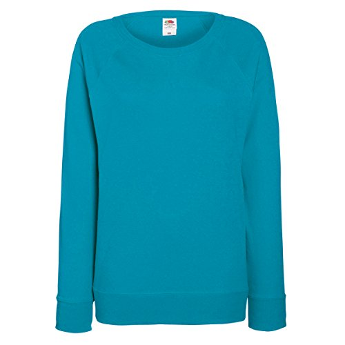 Fruit of the Loom Ladies Lightweight Raglan Sweat Türkis Azure Blue XL