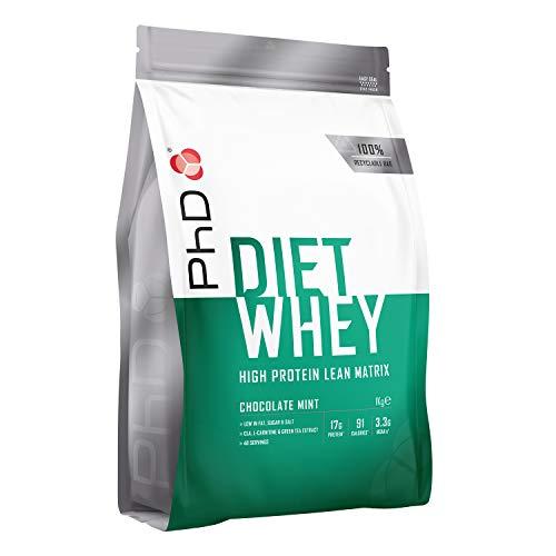 PhD Proteína de Suero Nutricional para Dieta en Polvo Bajo en Calorías, Sustituto de Comidas Rico en Proteínas Bajo en Azúcar con Fibra para Batidos de Adelgazamiento, Sabor Chocolate y Menta (1kg)