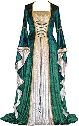 Geplaimir Mittelalter Kleidung Damen Renaissance Kostüme Samt Kleid für Halloween Fasching Karneval Hexe Vampire Gothic Cosplay Kostüm G006GS
