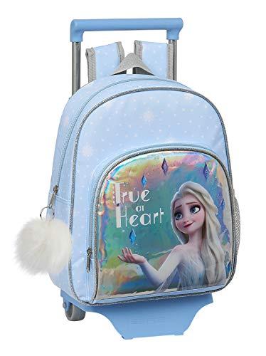 safta Mochila Infantil de Frozen II True at Heart con Carro 705, 280 x 100 x 340 mm, Color Azul Claro/ Plata