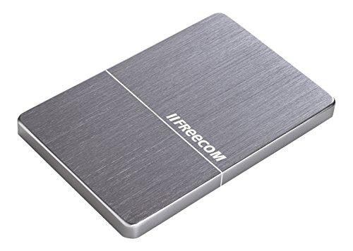 Freecom mHDD Slim Mobile Drive 2 TB, externe Festplatte mit USB 3.0 und USB Type-C, bis zu 5 GBit/s Übertragungsgeschwindigkeit, Spacegrau, 56380