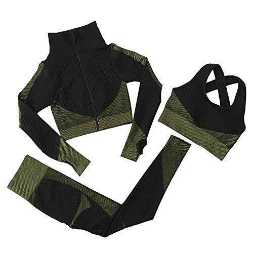 Jamron Damen Stretch Yoga Kleidung Set Jacke+BH+Leggings 3PCS Trainingsanzug Gym Fitness Activewear SN071153 Schwarz-Armeegrün L