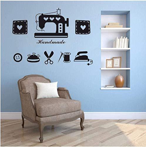 Adhesivo decorativo para pared, diseño de máquina de coser, para ventana, póster, botones de hielo, tijeras, vinilo, vinilo, para tiendas de ropa, decoración, 57 x 41 cm