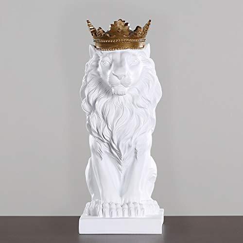 NYKK Art Decorative Statue Crown Lion Statue Home Livingroom Figurines Accessories Office Desktop Model Room Decoration King Statues Decor Crafts Vintage Artwork Home Décor Products (Color : White)