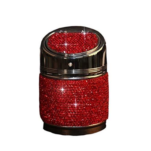 Gafas cigarro LYZ Ash bandejas Diamante Cenicero for Coche, de múltiples Funciones Universal Inicio Coche Lleno de Metal Creativo Cenicero (Color: Rojo) (Color : Red)