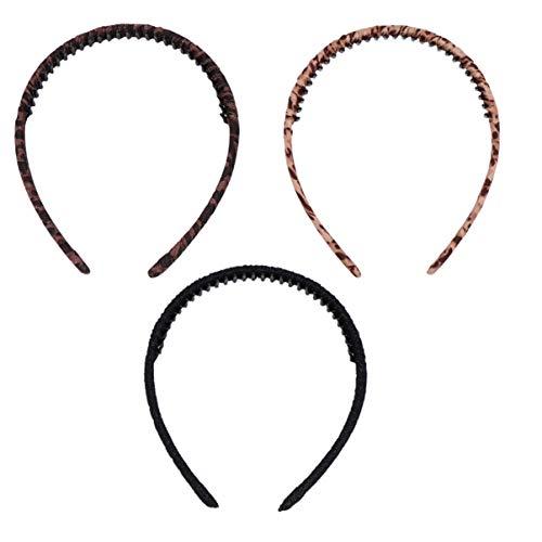 Pixnor 3Pcs Dents Bandeau Ruban de Mode Wrap Bandeau Cerceau de Cheveux Durs pour Les Femmes (Léopard Foncé Léopard Clair Noir)
