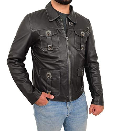 A1 FASHION GOODS Herren Schwarz Echtes Leder Westliche Jacke Jahrgang G9 Harrington Ausgestattet Reißverschluss Box Mantel Burnley (M - EU 48)