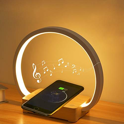 DSHBB Lámpara de Mesa de Noche QI Cargador inalámbrico Altavoz Bluetooth Lámpara de Escritorio Control táctil Luz Nocturna Lámpara Moderna Regulable para el Cuidado de los Ojos,Bluetooth Audio