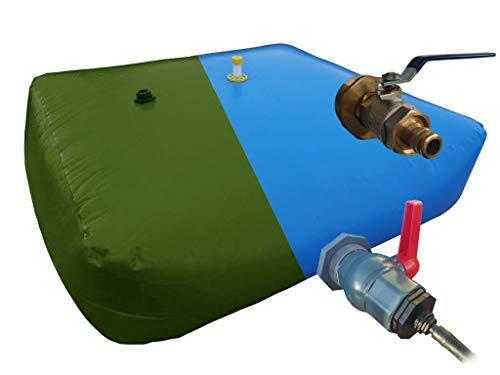 Depósito de Alta Capacidad. Escoge Volumen Desde 1000l, 2000l, 5000l, hasta 10000 litros. Tanque de Agua de Lluvia Flexible para riego (Válvula y adaptadores de Metal, 1000L)