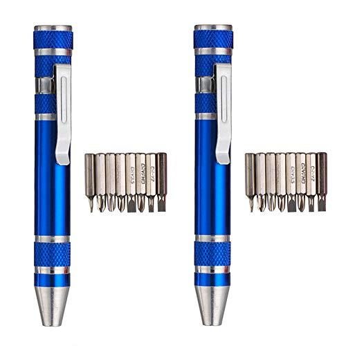 2 Packungen Huture Multifunktions-Mini-Schraubendreher-Set 8 in 1 Präzisions-Taschenschraubendreher Langlebige Mini-Geräte Reparieren Mehrzweck-Aluminiumgriff Pen Tool Kit Blau