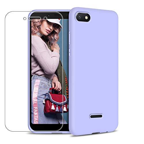 Funda Xiaomi Redmi 6A + Protector de Pantalla de Vidrio Templado, Carcasa Ultra Fino Suave Flexible Silicona Colores del Caramelo Protectora Caso Anti-rasguños Back Case - Morado Claro