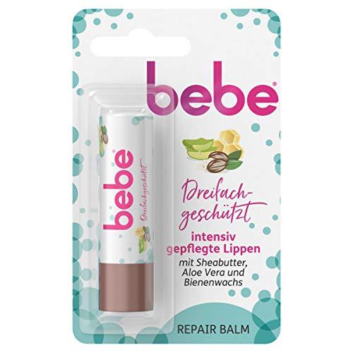 bebe Dreifachgeschützt Repair Balm, Lippenpflegestift mit Sheabutter, Aloe Vera und Bienenwachs, 4,9 g