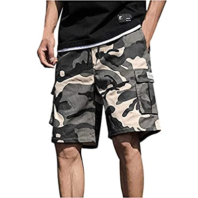 JustWin Men's Outdoor Stitching Sports Tooling Shorts Summer Patchwork Overalls Sport Leisure Pants