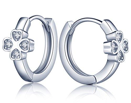 Infinite U - Orecchini a cerchio da donna in argento sterling 925 e zirconia cubica, motivo quadrifoglio con foglie a forma di cuore, alla moda