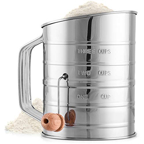 Zulay 3 Cup Stainless Steel Flour Sifter - Fine Mesh Rotary Hand Crank Flour Sifter with Agitator Wire Loop For Baking Cakes, Pastries, Pies, Cupcakes and Desserts