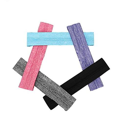 Fascia antisudore antiscivolo in cinque pezzi, fascia sportiva per uomo e donna, fascia yoga per cyclette, nero, grigio, rosa, blu, viola