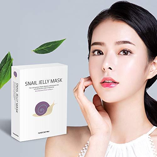SKEDERM Snail Jelly Face Mask Sheet with Snail Secretion Filtrate 5,000ppm for Deep Moisturizing,...