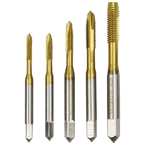 RongSheng 5pcs M3-M8 espiral Groove Taps Titanium Coating Hand Tap Drill Thread Plug