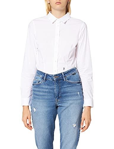 Schwarze Rose Damen Bluse Hemd Hemdbluse Langarm Slim Fit Uni Stretch, Weiß (Weiß 01), 34 (Herstellergröße: 34)