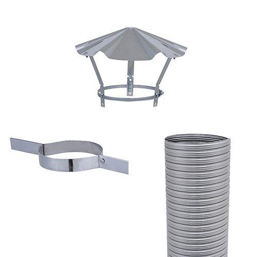 ISOTIP-JONCOUX 650005 Kit Flexible Flexitherm Diam 80 : 5 Mètres + Collier de Tubage + Chapeau Chinois, Inox, Set de 3 Pièces